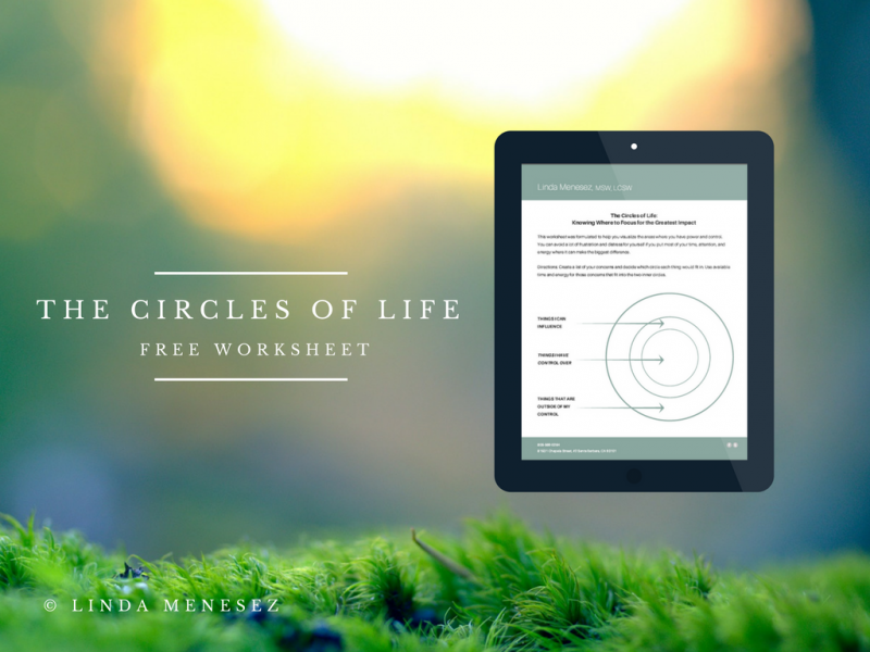 Free Worksheet to Lower Stress: The Circles of Life